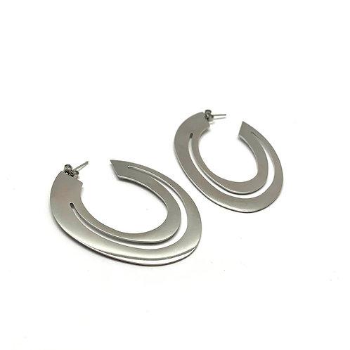 """Créoles boucles d'oreilles originales femme acier inoxydable """"Saturne"""""""