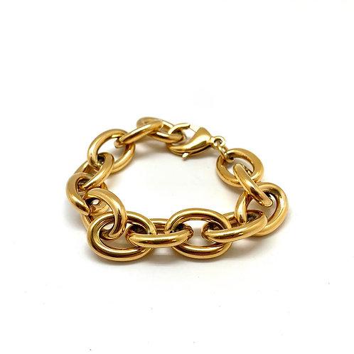 """Bracelet chaîne original femme acier inoxydable plaqué or 18K  """"Orphée"""""""