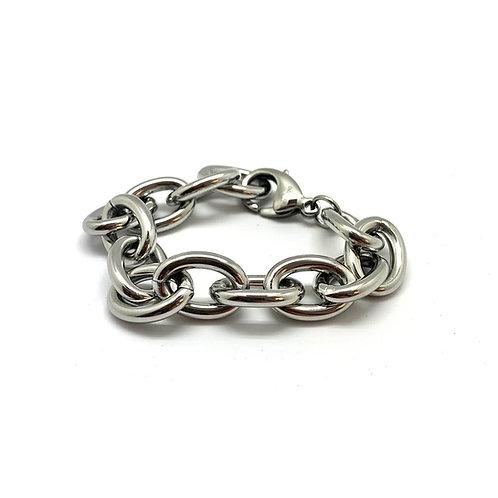 """Bracelet bijou femme maille ovale original acier inoxydable """"Anubis"""""""