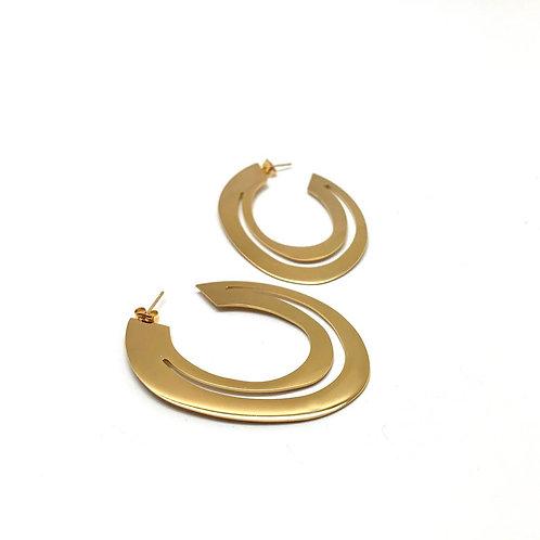 """Créoles originales femme boucles d'oreilles  plaqué or 18K """"Surya"""""""