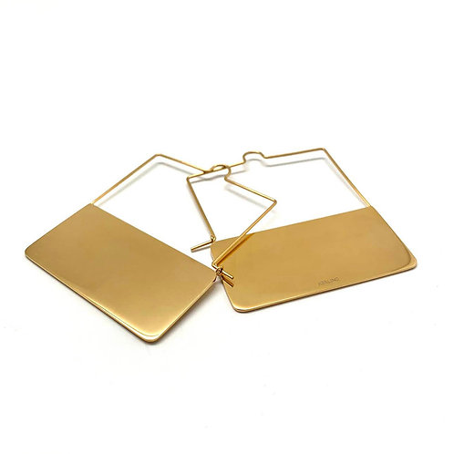 "Large creole earrings 18k gold plated stainless steel ""Girona"""