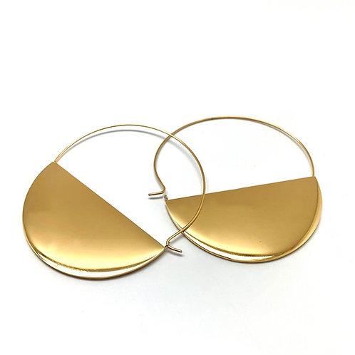 """Créoles femme originales boucles d'oreilles  plaqué or 18K """"Nubia"""""""