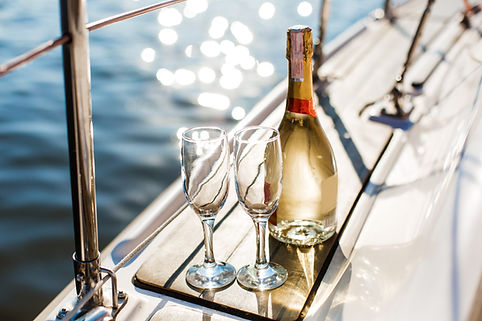 Romantic luxury evening on cruise yacht