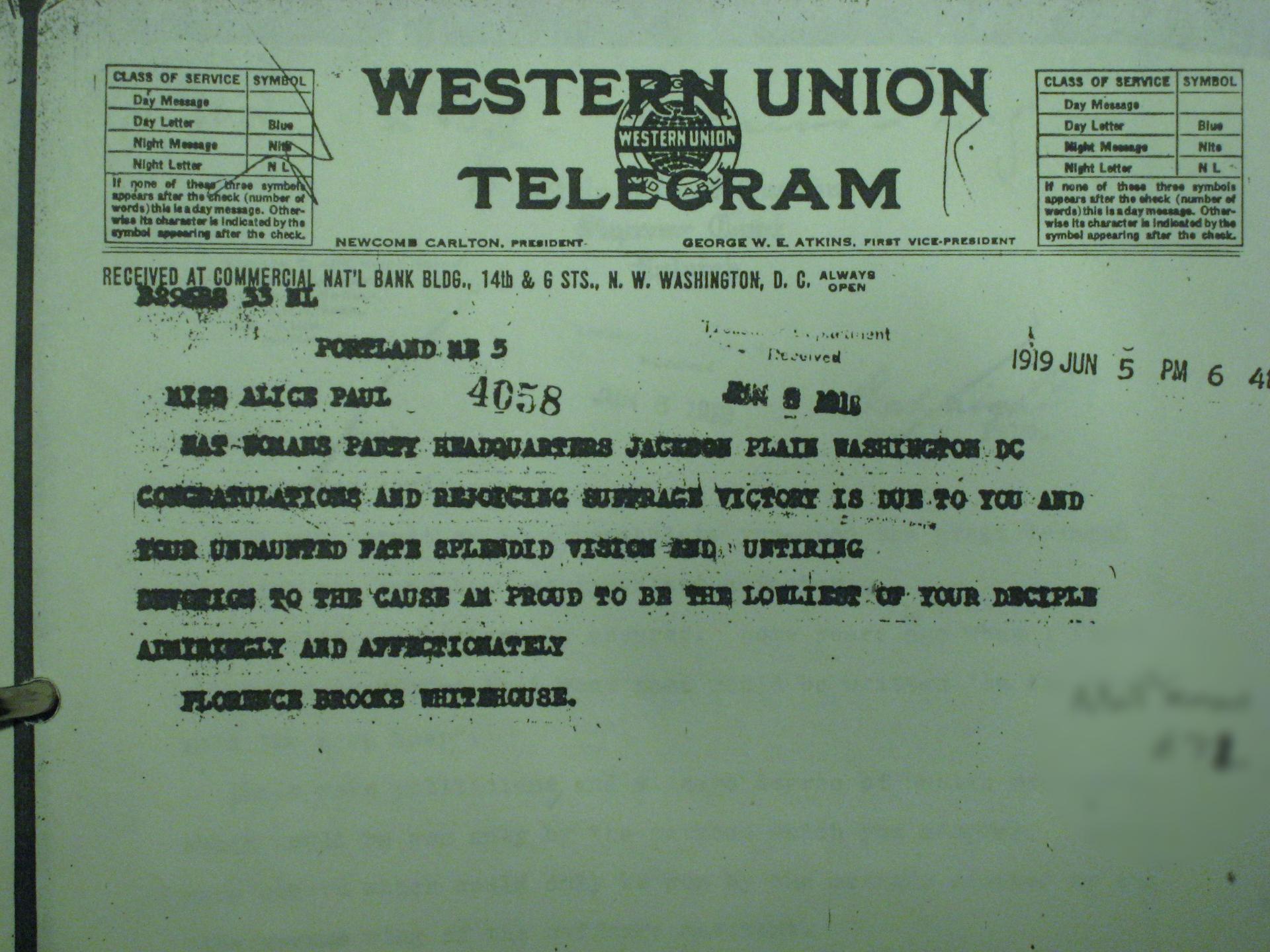 FBW Telegram to Alice Paul