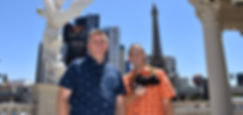 The Roving Reverend Team, Rev. Matthew Neff, Bradley Francis, photographer, Vegas Strip background