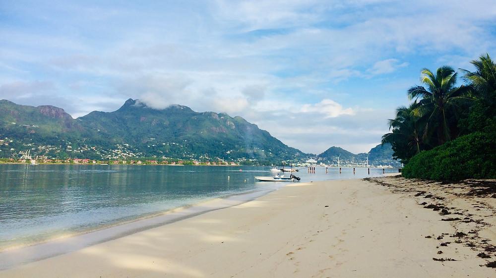 Cerf Island beach with views to Mahe