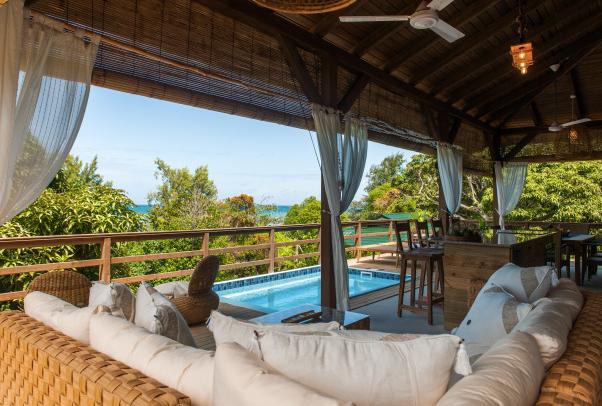 Outdoor veranda for the villa Veuve Noire, La Pointe