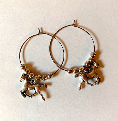Galloping Horse Hoop Earrings