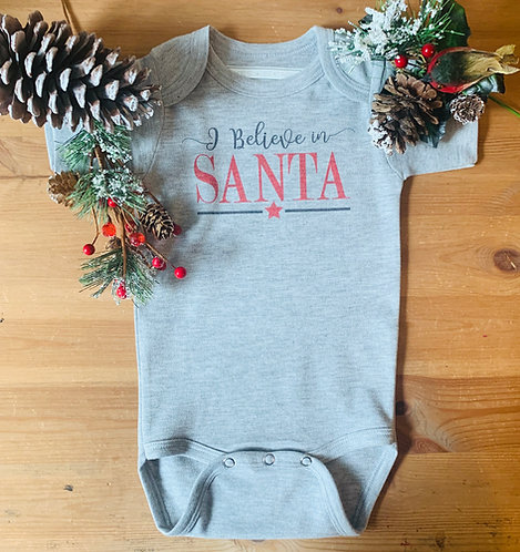 Baby Christmas SS Bodysuit - I Believe In Santa
