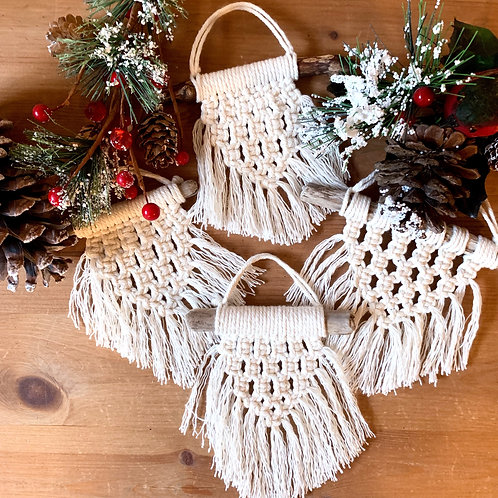 Mini Macrame Holiday Ornaments