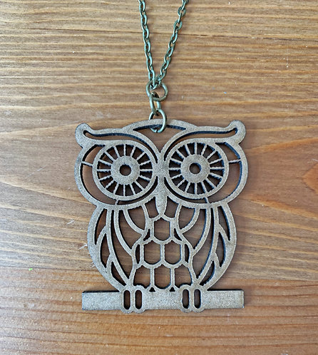 Wooden It Be Nice Necklace - Owl II