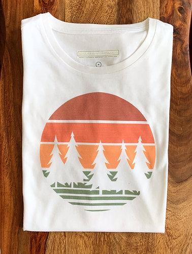 Men's White Graphic Tee - 70's Sunset