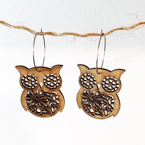 Wooden It Be Nice Earrings - Owl