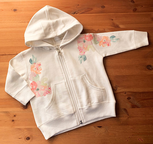 Watercolor Flowers Full Zip Hoodie