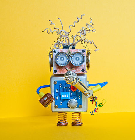 Friendly robot with microphone, singing