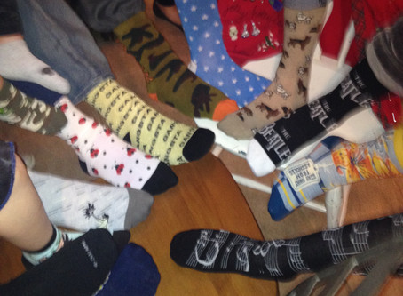 This is what an ugly sock party looks like.