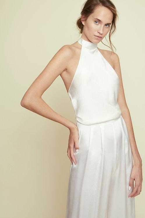 OLIVIA - White Halter-Neck Top