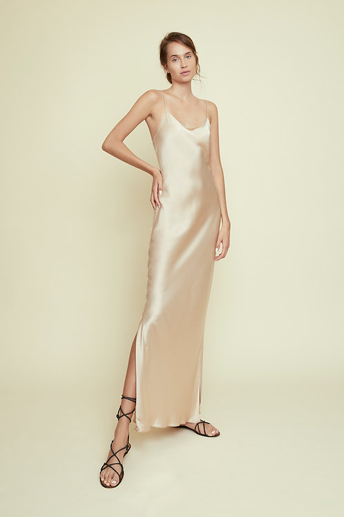GRACE - Almond Long Slip Dress