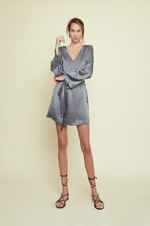 ROSE - Slate Mini Bow Dress