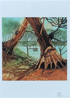 Art Card: ' Bridgewood '  Linocut - by Helen Maxfield