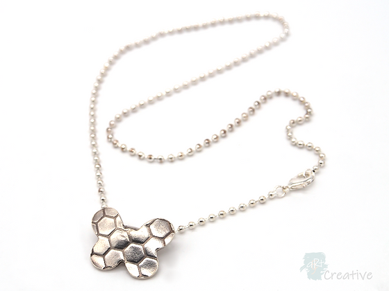 Necklace: Fine Silver 'Textured Butterfly' - Toni Peers