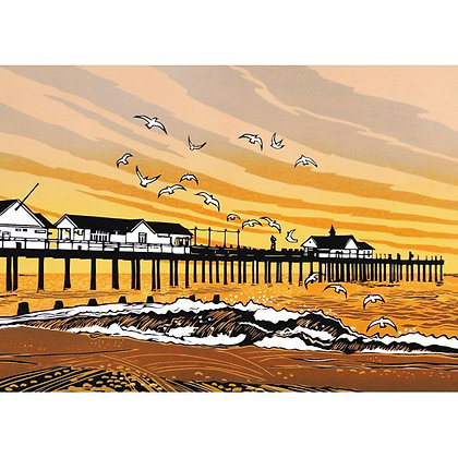 Rectangular Art Card: By the Pier by Rob Barnes