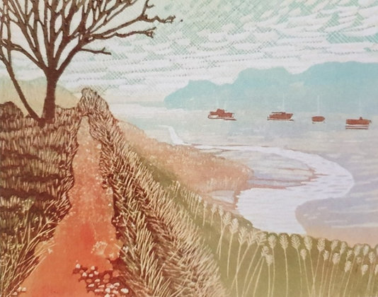 Art Card:' Martlesham Creek Path' Linocut - by Helen Maxfield