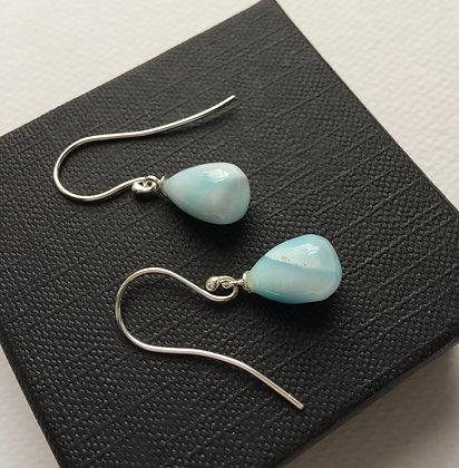 Silver & Larimar Dangle Earrings  - Lorraine Allan