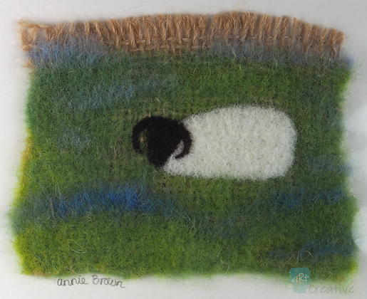 Sheep in Blue Meadow - Annie Brown (mounted)
