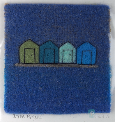 Beach Huts - Annie Brown (mounted)