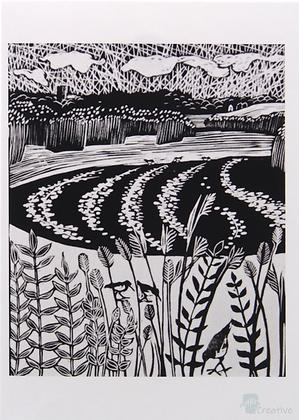 Rectangular Art Card: 'Snape Marshes' Linocut - by Helen Maxfield