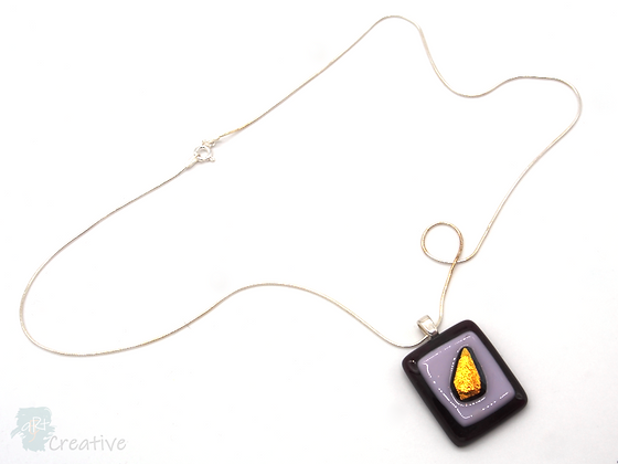 Dichroic Glass Pendant Gold Leaf & Mixed Colours  - Louise Ferrier