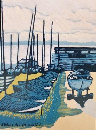 Art Card:' Aldeburgh Boats ' Linocut - by Helen Maxfield