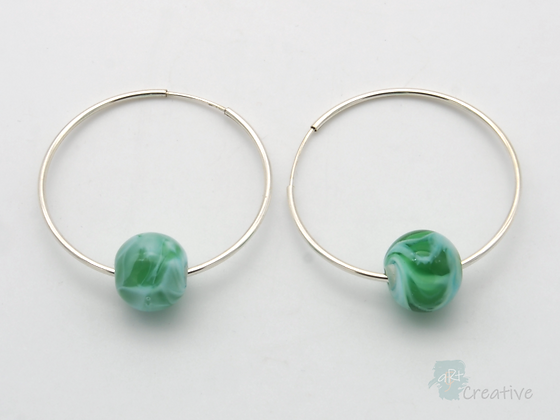Glass Bead Hoop Earrings  - Avalon Jewellery