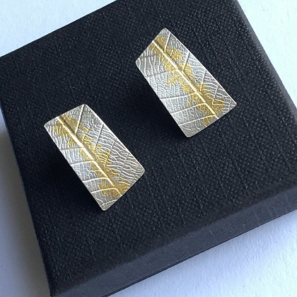 Silver Earrings with Leaf Imprint & 23ct Gold Keum Boo Decoration