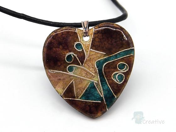 Necklace: Enamelled Cloisonne Heart Pendant - Toni Peers
