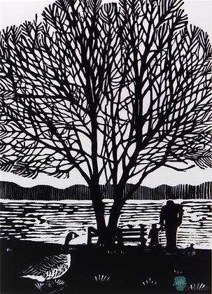 Rectangular Art Card: 'At the Lake' Linocut - by Helen Maxfield
