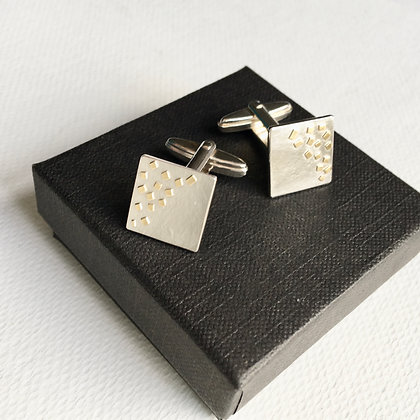 Square Silver Cufflinks with 18ct Gold Sprinkles