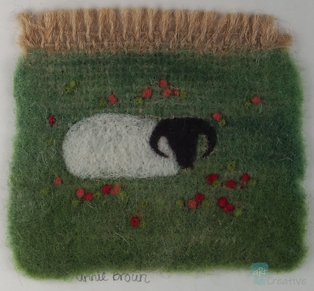 Sheep with Poppies - Annie Brown (mounted)