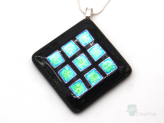Dichroic Glass Pendant  Turquoise & Purple - Louise Ferrier