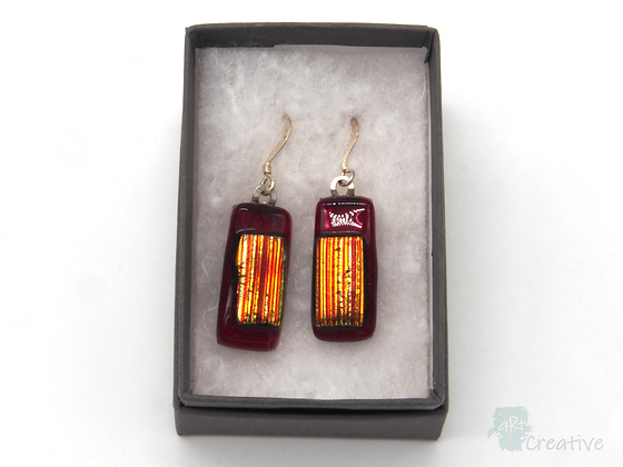 Dichroic Glass Drop Earrings Red & Gold - Louise Ferrier