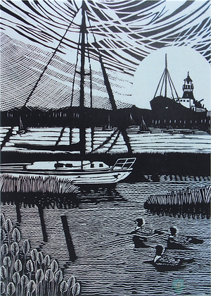 Art Card: ' Tollesbury '  Linocut - by Helen Maxfield