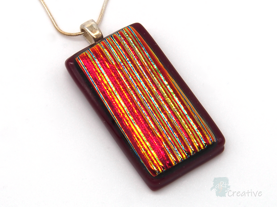 Dichroic Glass Pendant Red & Gold  - Louise Ferrier