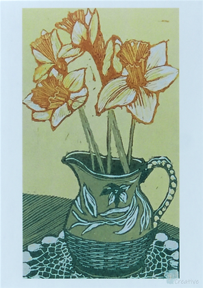 Art Card: 'Daffodils'  Linocut - by Helen Maxfield