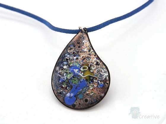 Necklace: Swirl Enamelled 'Leaf Drop' - Toni Peers