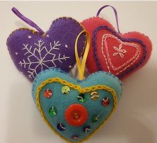 Hand Embroidery - Felt Hearts Trio 01 - Takeaway Taster by TammiR