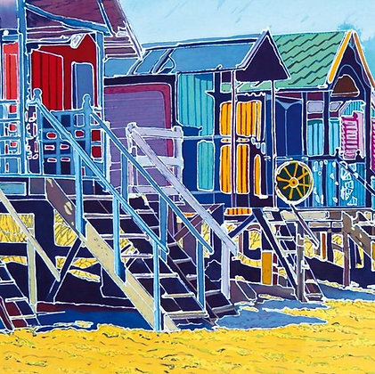 Square Art Card:  Beach Huts  by Caryl Challis