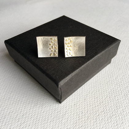 Square Silver Earrings with 18ct Gold Sprinkles