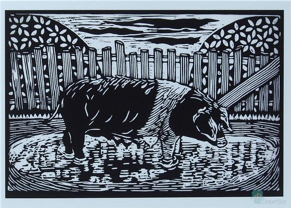 Rectangular Art Card: 'Essex Pig ' Linocut - by Helen Maxfield