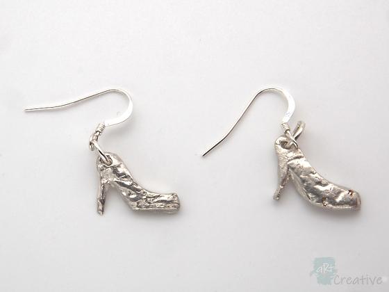 Earrings: Fine Silver Shoe  - Toni Peers